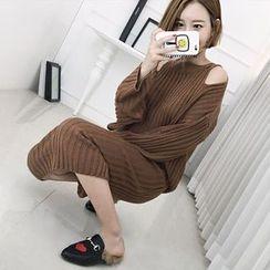 Seoul Fashion - Set: Cutout-Shoulder Rib-Knit Top + Long Skirt