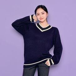 HOTPING - V-Neck Contrast-Trim Knit Top