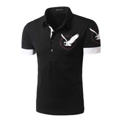 Hansel - Eagle Print Short-Sleeve Polo Shirt