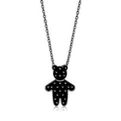 Kenny & co. - Black Dot Pattern Bear Pendant With Steel Necklace