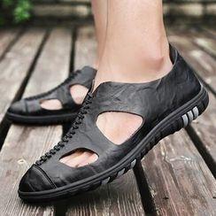 NOVO - Cutout Genuine-Leather Slip-Ons
