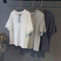 芷蓯夕 - 皺摺短袖上衣