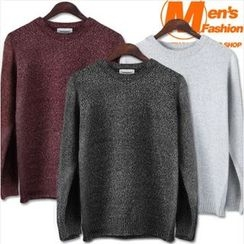 WIZIKOREA - Crewneck Wool Blend Sweater