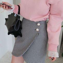 Seoul Fashion - Faux-Pearl Button Checked Surplice-Wrap Mini Skirt