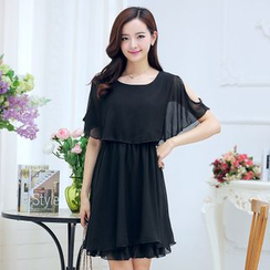 Sienne - Shoulder Cut Out Chiffon Dress