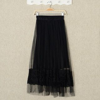 YesStyle Z - Mesh Overlay Maxi Skirt
