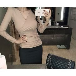 Marlangrouge - Wrap-Front Shirred Top