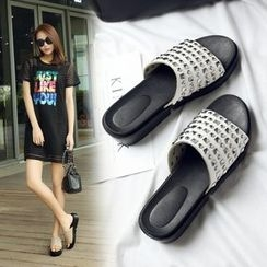 Shoes Galore - Studded Platform Slide Sandals
