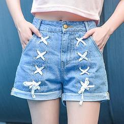 Moriville - Lace Up Denim Shorts