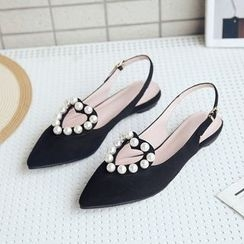 Charming Kicks - Faux Pearl Pointed Sandals