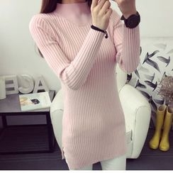anzoveve - Mock-neck Ribbed Long Knit Top