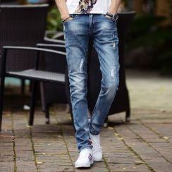 Croni - Distressed Washed Straight Leg Jeans