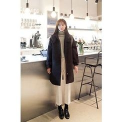 CHERRYKOKO - Funnel-Neck Belted-Cuff Zip-Up Coat
