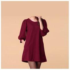 Strawberry Flower - 3/4-Sleeve A-Line Dress