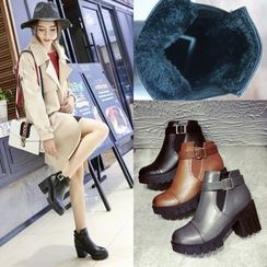 BARCA - Block Heel Buckled Short Boots