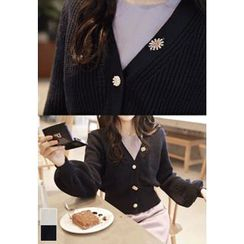 MyFiona - Rhinestone-Button Balloon-Sleeve Cardigan