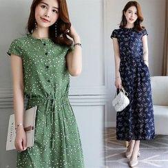 Romantica - Cap-Sleeve Drawcord Floral Maxi Dress