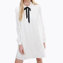 Obel - Tie Neck Pleated Shirtdress