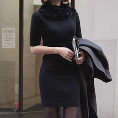 Seoul Fashion - Wool Blend Short-Sleeve Sheath Dress