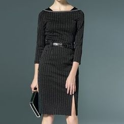 Bantynan - Pinstriped 3/4-Sleeve Sheath Dress