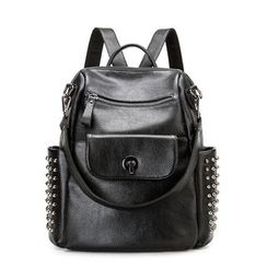 AIDO - Studded Genuine Leather Backpack