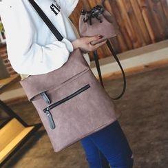 Hase Babe - Set : Faux Leather Backpack + Bucket Shoulder Bag