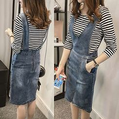 Little V - Set: 3/4-Sleeve Striped T-Shirt + V-Neck Denim Jumper Skirt