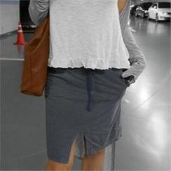 LIPHOP - Drawstring-Waist Slit-Front Skirt