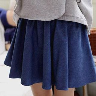 Sechuna - Shirred Denim Miniskirt