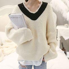 NANING9 - Fringed Rib-Knit Sweater