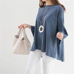 PEPER - 3/4-Sleeve Slit-Back T-Shirt