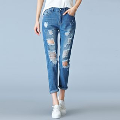 Quintess - Distressed Cropped Slim-Fit Jeans
