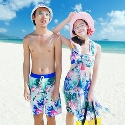 Goldlyre - Couple Matching Printed Swim Shorts / Set: Bikini + Cover-Up
