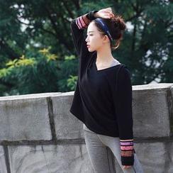 Ariana - 條紋V領運動連帽衫