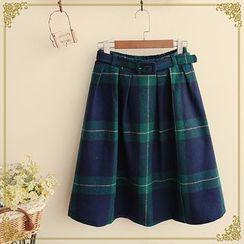 Fairyland - Check A-Line Midi Skirt