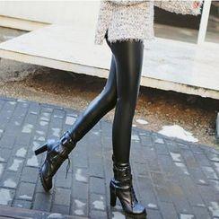 Breece - Faux Leather Fleece Lined Leggings