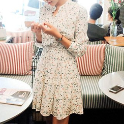 Fashion Street - Floral Print Split-neck Dress