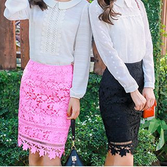 AiLiTi - 鉤織蕾絲鉛筆裙