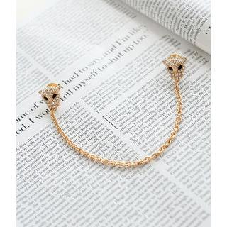 Petit et Belle - Rhinestone Leopard Face Chain Collar Pin
