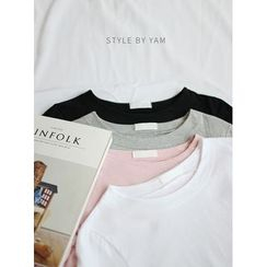 STYLEBYYAM - Round-Neck 3/4-Sleeve T-Shirt