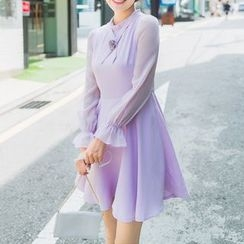 AiLiTi - Long-Sleeve A-Line Chiffon Dress