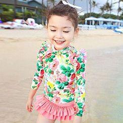 Aqua Wave - Set : Floral Print Rashguard + Swim Skirt