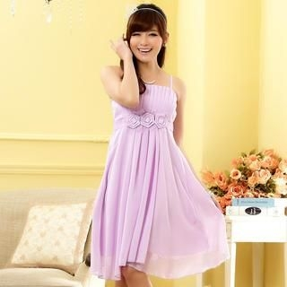 JK2 - Sleeveless Rosette A-Line Party Dress