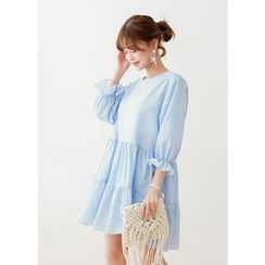 J-ANN - Elbow-Sleeve Round-Neck Cotton Empire A-Line Dress