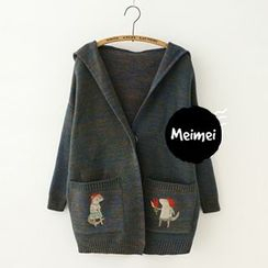 Meimei - Hooded Fox Embroidered Cardigan
