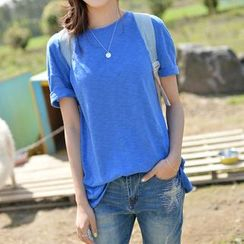 JUSTONE - Drop-Shoulder Mélange T-Shirt