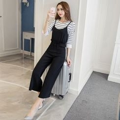 Cherry Dress - Set: Stripe Bell-Sleeve Top + Strap Dungaree