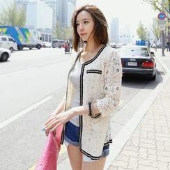 REDOPIN - Chain-Trim Lace Jacket