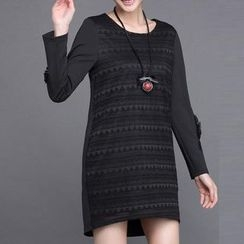 Mythmax - Long-Sleeve Rosette Paneled Dress