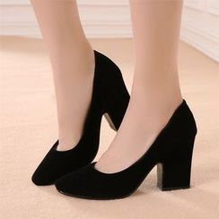 天姿 - 純色粗跟鞋